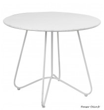 Table ronde métal blanc