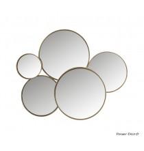 Miroir 5 ronds métal or
