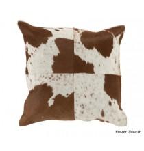 Coussin carré vache blanc/marron