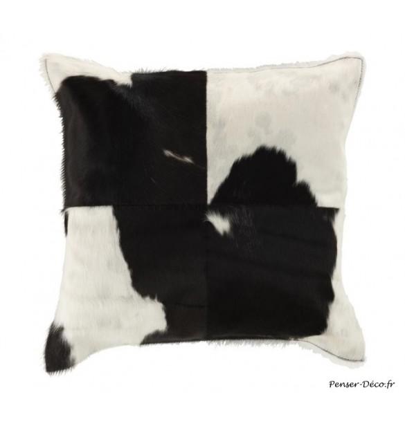 Coussin carré vache blanc/noir