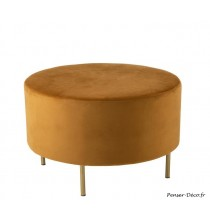 Pouf pied rond ocre
