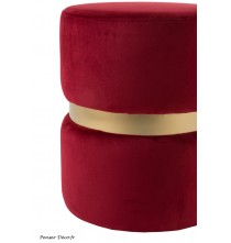 Pouf rond rouge/or