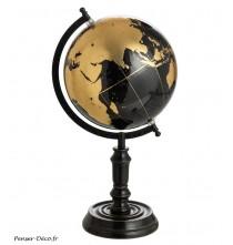 Globe sur pied noir/or médium